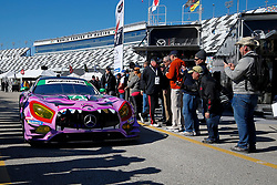 January 25, 2019 - Daytona, FL, U.S. - DAYTONA, FL - JANUARY 25: The #71 P1 Motorsports Mercedes_AMG GT3 of Maximilian Buhk, Fabian Schiller, Dominik Baumann, and JC Perez rolls through the garage area following practice for the Rolex 24 at Daytona on January 25, 2019 at Daytona International Speedway in Daytona Beach, Fl. (Photo by David Rosenblum/Icon Sportswire) (Credit Image: © David Rosenblum/Icon SMI via ZUMA Press)