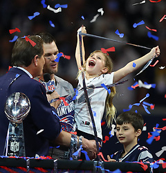Vivian Lake Brady, daughter of New England Patriots quarterback Tom Brady, celebrates her father's sixth Super Bowl victory, 13-3, against the Los Angeles Rams in Super Bowl LIII at Mercedes-Benz Stadium in Atlanta on Sunday, February 3, 2019. Photo by Curtis Compton/Atlanta Journal-Constitution/TNS/ABACAPRESS.COM