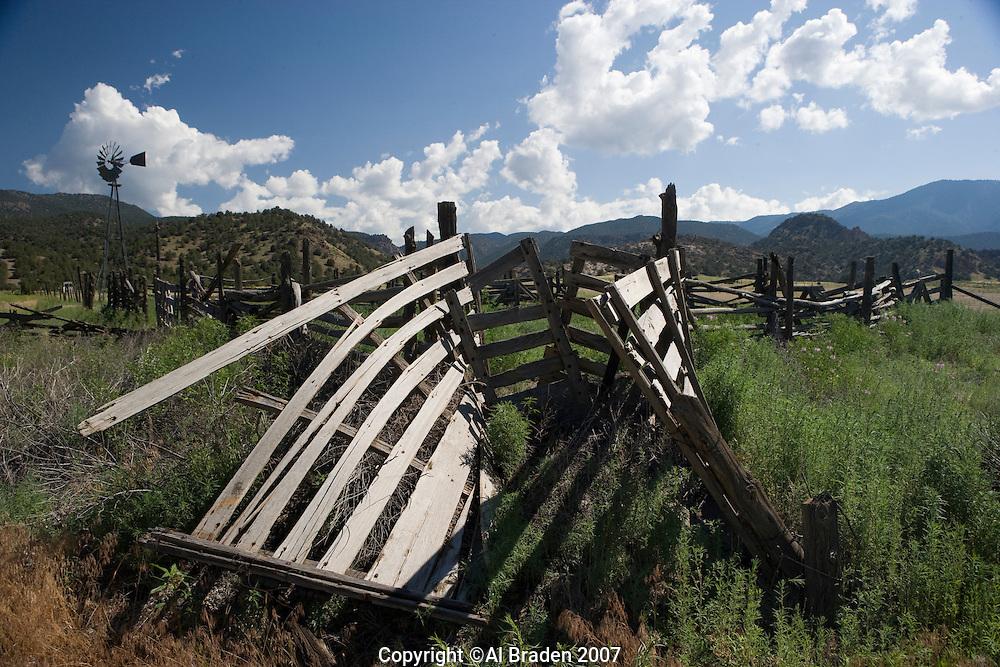 Weathered cattle chute near Howard, Colorado