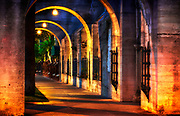 Image of the walkway at dawn at the Mission Inn Hotel & Spa in Riverside, Orange County,  California, America west coast by Randy Wells