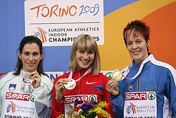 Marija Sestak of Slovenia placed second, winner and European Champion Anastasiya Taranova-Potapova of Russia and Dana Veldakova of Slovakia placed third at the final of Women Triple  jump at the 3rd day of  European Athletics Indoor Championships Torino 2009 (6th - 8th March), at Oval Lingotto Stadium,  Torino, Italy, on March 8, 2009. (Photo by Vid Ponikvar / Sportida)