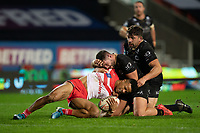 Rugby League - 2020 Betfair Super League - Semi-final - St Helens vs Catalan Dragons - TW Stadium<br /> <br /> St. Helens's Regan Grace is tackled <br /> <br /> COLORSPORT/TERRY DONNELLY