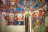 Romanesque frescoes from the Church of Sant Clement de Taull, Vall de Boi, Alta Ribagorca, Spain. Painted around 1123 depicting The virgin Mary and the Apostles.  National Art Museum of Catalonia, Barcelona. MNAC 15806