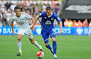 James McCarthy of Everton is marked by Jack Cork of Swansea City late in the second half.<br /> Barclays Premier League match, Swansea city v Everton at the Liberty Stadium in Swansea, South Wales on Saturday 19th September 2015.<br /> pic by Phil Rees, Andrew Orchard sports photography.