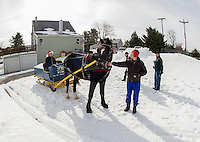 Horse drawn sleigh ride at Bolduc Park Monday, March 25, 2013.