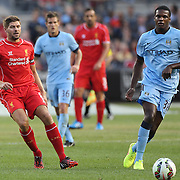 Dedryck Boyata, (right), Manchester City, is challenged by Steven Gerrard, Liverpool, during the Manchester City Vs Liverpool FC Guinness International Champions Cup match at Yankee Stadium, The Bronx, New York, USA. 30th July 2014. Photo Tim Clayton