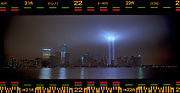 """The """"Tribute in Lights"""" illuminates the sky over lower Manhattan on the 10th anniversary of the 9/11 attacks on the World Trade Center in New York, September 11, 2011. Photo by Jim Young"""