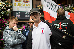 """© Licensed to London News Pictures . 24/06/2017. London, UK. EDL leader IAN CROSSLAND on Whitehall . The English Defence League ( EDL ) hold a March on Parliament , from Charing Cross to Victoria Embankment , opposed by  a counter demonstration by Unite Against Fascism . Scotland Yard said it was using public order laws to restrict the marches """"due to concerns of serious public disorder, and disruption to the community"""" following terrorist attacks in Manchester , Westminster and Finsbury Park and the Grenfell Tower fire  . Photo credit: Joel Goodman/LNP"""