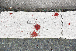 © Licensed to London News Pictures. 20/01/2020. London, UK. Blood spots are seen on the  pavement near a murder scene in Seven Kings in east London as an investigation is launched into the deaths of three men all of whom had suffered apparent stab injuries. Photo credit: Peter Macdiarmid/LNP