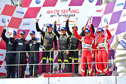 February 24, 2019 - Sepang, Malaisie - 11 CAR GUY (JPN) FERRARI 488 GT3 GT TAKESHI KIMURA (JPN) KEI COZZOLINO (JPN) JAMES CALADO (GBR) WINNER GT.#88 TIANSHI RACING TEAM (CHN) AUDI R8 LMS GT XU WEI (CHN) CHEN WEI AN (CHN) DRIES VANTHOOR (BEL) SECOND GT.#51 SPIRIT OF RACE (SUI) FERRARI 488 GT3 GT ALESSANDRO PIER GUIDI (ITA) OSWALDO NEGRI JR (USA) FRANCESCO PIOVANETTI (USA) THIRD GT (Credit Image: © Panoramic via ZUMA Press)