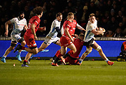 Sale Sharks No.8 Daniel Du Preez looks inside to off-load the ball during a Premiership Rugby Cup Semi Final  won by Sale 28-7, Friday, Feb. 7, 2020, in Eccles, United Kingdom. (Steve Flynn/Image of Sport)