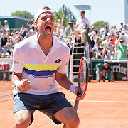2017 French Open Tennis Tournament - Paul-Henri Mathieu of France celebrates his victory against  Denis Kudla of the United States in the Qualifying Men's Singles round three match at the 2017 French Open Tennis Tournament at Roland Garros on May 26th, 2017 in Paris, France.  (Photo by Tim Clayton/Corbis via Getty Images)