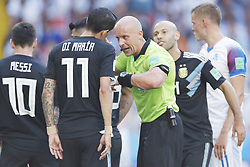 (l-r) Lionel Messi of Argentina, Angel Di Maria of Argentina, referee Szymon Marciniak, Javier Mascherano of Argentina during the 2018 FIFA World Cup Russia group D match between Argentina and Iceland at the Spartak Stadium on June 16, 2018 in Moscow, Russia.