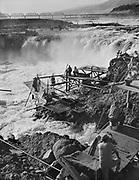 9969-561007-03. Indians fishing at Celilo Falls, October 7, 1956