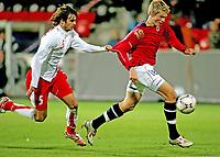 Fotball , 12. oktober 2007 , Landskamp U21 , Norge - Sveits , Tore Andreas Gundersen Norge , Beg Ferati Sveits , Foto: Thomas Andersen , Digitalsport