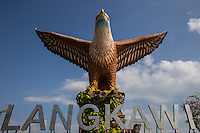 Eagle Square Dataran Lang is one of Langkawi's best known landmarks -  a large sculpture of an eagle poised to take flight.  The sculpture greets visitors to the island as it is located just next to the ferry terminal.  The statue is the island's icon and most recognizable monument.  Eagle Square is a great place to watch ferries ply across the harbour coming and going from Penang as well as mainland peninsular Malaysia.