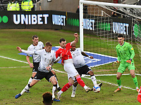 Football - 2020 / 2021 Sky Bet Championship - Swansea City vs Barnsley - Liberty Stadium<br /> <br /> Clark Odour of Barnsley  is made to shoot wide of goal by the Swansea defence<br /> COLORSPORT/WINSTON BYNORTH