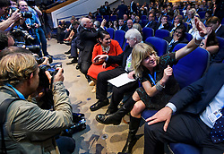 © Licensed to London News Pictures. 02/10/2018. Birmingham, UK. L to R IAIN DUNCAN SMITH MP, PRITI PATEL MP, STANLEY JOHNSON (father of Boris Johnson) and RACHEL JOHNSON (Sister of Boris Johnson) wait for Boris Johnson arrives on stage to deliver a speech at day three of the 2018 Conservative Party conference at the ICC in Birmingham, where he is due to speak. This years event is focused heavily on Brexit and negotiations with the EU over the UK's exit form the European Union. Photo credit: Ben Cawthra/LNP