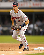 CHICAGO - AUGUST 21:  Joe MAuer #7 of the Minnesota Twins fields against the Chicago White Sox on August 21, 2018 at Guaranteed Rate Field in Chicago, Illinois.  (Photo by Ron Vesely)  Subject: Joe Mauer