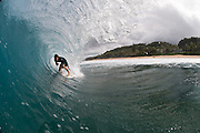 HONOLULU, HI - NOVEMBER 10:  Cooper Chapman of Australia in the barrel at Off The Wall on November 10, 2010 on the North Shore of Oahu, Hawaii.  (Photo by Matt Roberts/Getty Images)