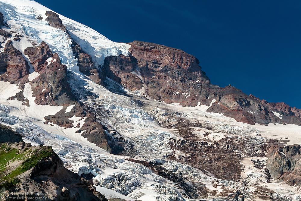 Gibraltar Rock and the Nisqually Glacier icefall on Mount Rainier in Mount Rainier National Park, Washington State, USA
