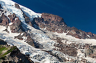 Gibraltar Rock and the Nisqually Glacier icefall on Mount Rainier in Mount Rainier National Park, Washington State, USA