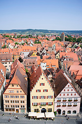 View of Rothenburg ob der Tauber medieval town in Bavaria Germany