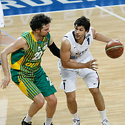 Efes Pilsen's Cenk AKYOL (R) and Olin Edirne's Reha OZ (L) during their Turkish Basketball league match Efes Pilsen between Olin Edirne at the Sinan Erdem Arena in Istanbul Turkey on Friday 06 May 2011. Photo by TURKPIX