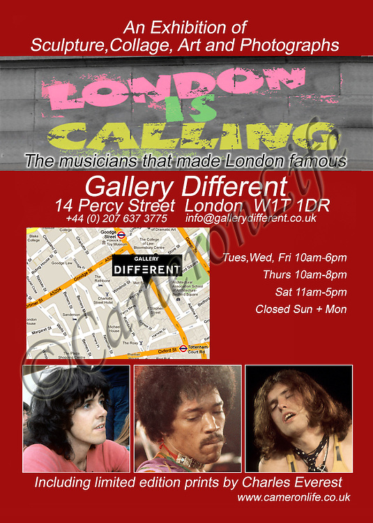 An exhibition of Sculpture, Collage, Paintings and Photographs celebrating the bands that made London Famous. Galley Different 14 Percy Street London W1T 1DR. 18/07/2012 to 31/08/2012