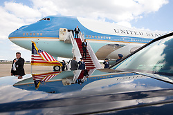President Barack Obama disembarks Air Force One upon arrival at Joint Base Andrews, Md. following a trip to Tampa, Fla., Sept. 17, 2014. (Official White House Photo by Pete Souza)<br /> <br /> This official White House photograph is being made available only for publication by news organizations and/or for personal use printing by the subject(s) of the photograph. The photograph may not be manipulated in any way and may not be used in commercial or political materials, advertisements, emails, products, promotions that in any way suggests approval or endorsement of the President, the First Family, or the White House.