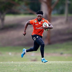 Lwazi Mvovo of the Cell C Sharks during the Cell C Sharks training session from theBox Hill Rugby Union Football Club  RHL Sparks Reserve, Canterbury Rd & Middleborough Road, Box Hill VIC 3128. Melbourne,Australia 20 February 2020. (Photo Steve Haag Sports -Hollywoodbets)