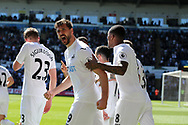 Fernando Llorente of Swansea city (c) celebrates after he scores his teams 1st goal.  Premier league match, Swansea city v Stoke City at the Liberty Stadium in Swansea, South Wales on Saturday 22nd April 2017.<br /> pic by Andrew Orchard,