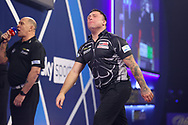 Gerwyn Price shows frustration during the William Hill World Darts Championship Semi-Finals at Alexandra Palace, London, United Kingdom on 2 January 2021.