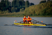 Men's pairs rowing team in action