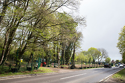 Wendover, UK. 4th May, 2021. A view of trees alongside the A413. Large areas of land are currently being cleared of trees and vegetation around Wendover in the Chilterns AONB in preparation for the HS2 high-speed rail link, with some work recently taking place after dark. Activists opposed to HS2 occupy Wendover Active Resistance Camp beside the A413.