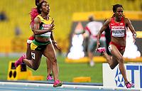 Friidrett<br /> VM 2013 Moskva<br /> 12.08.2013<br /> Foto: Gepa/Digitalsport<br /> NORWAY ONLY<br /> <br /> IAAF Weltmeisterschaften 2013, 400m der Damen.  Bild zeigt Shelly-Ann Fraser-Pryce (JAM) und English Gardner (USA).