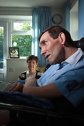 "© Licensed to London News Pictures File pic dated 15/10/2011. Melksham, UK. Portrait of Tony Nicklinson & wife Jane at their home in Melksham near Bath in October 2011. Mr Nicklinson suffered from ""Locked in Syndrome"" after having a stroke in 2005. Tony fought for his right to end his own life and after finally losing his case in the High Court to allow doctors to end his life refused all food starved himself to death in August 2012. Photo Credit : Stephen Shepherd/LNP"