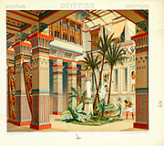 Ancient Egyptian temple from Geschichte des kostüms in chronologischer entwicklung (History of the costume in chronological development) by Racinet, A. (Auguste), 1825-1893. and Rosenberg, Adolf, 1850-1906, Volume 1 printed in Berlin in 1888