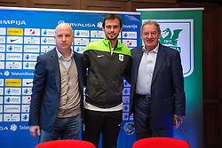 Marko Nikolic, head coach of NK Olimpija Ljubljana, Danko Lazovic, new football player and Milan Mandaric, president of NK Olimpija during press conference and practice session of NK Olimpija Ljubljana, on February 25, 2016 in Austria Trend Hotel, Ljubljana, Slovenia. Photo by Matic Klansek Velej / Sportida