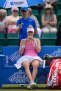 Alison Riske (USA) eats a banana between sets during her match against Magdalena Rybarikova (SVK). The Aegon Open Nottingham 2017, international tennis tournament at the Nottingham tennis centre in Nottingham, Notts , day 4 on Thursday 15th June 2017.<br /> pic by Bradley Collyer, Andrew Orchard sports photography.