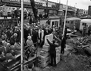 12/05/1962<br /> 05/12/1962<br /> 12 May 1962<br /> Liberty Hall foundation stone laid. John Conroy (glasses) General President of the I.T.&.G.W.U. laying the foundation stone of the new Liberty Hall, Dublin.