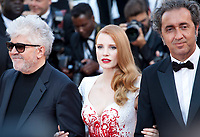 Pedro Almodovar, Jessica Chastain and Paolo Sorrentino, arriving to the Closing Ceremony and awards at the 70th Cannes Film Festival Sunday 28th May 2017, Cannes, France. Photo credit: Doreen Kennedy