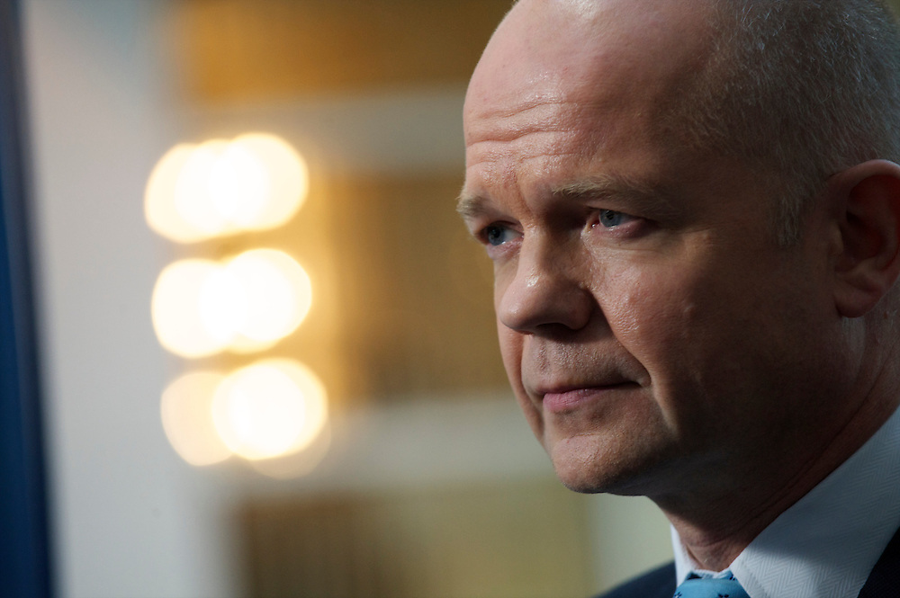 Secretary of State for Foreign and Commonwealth Affairs William Hague grants a BBC television interview on the fourth, and final, day of the Conservatives Party Conference at the ICC, Birmingham, UK on October 6, 2010.  This is the first conference since the government coalition with the Liberal Democrats.