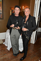 Left to right, JAMES BROWN and JULIEN MACDONALD at a dinner for JF London x Kyle DeVolle held at Beach Blanket Babylon, Ledbury Road, London on 29th September 2016.