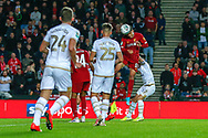 GOAL 0-2 Liverpool defender Ki-Jana Hoever (51) scores from a header during the EFL Cup match between Milton Keynes Dons and Liverpool at stadium:mk, Milton Keynes, England on 25 September 2019.
