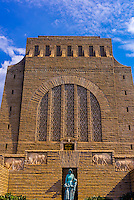 Voortrekker Monument, Pretoria (Tshwane), South Africa. This massive granite structure is prominently located on a hilltop, and was raised to commemorate the Voortrekkers who left the Cape Colony between 1835 and 1854.