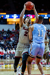 NORMAL, IL - February 08: Zach Copeland goes up with his shot collecting a blocking foul from Tyreke Key during a college basketball game between the ISU Redbirds and the Indiana State Sycamores on February 08 2020 at Redbird Arena in Normal, IL. (Photo by Alan Look)