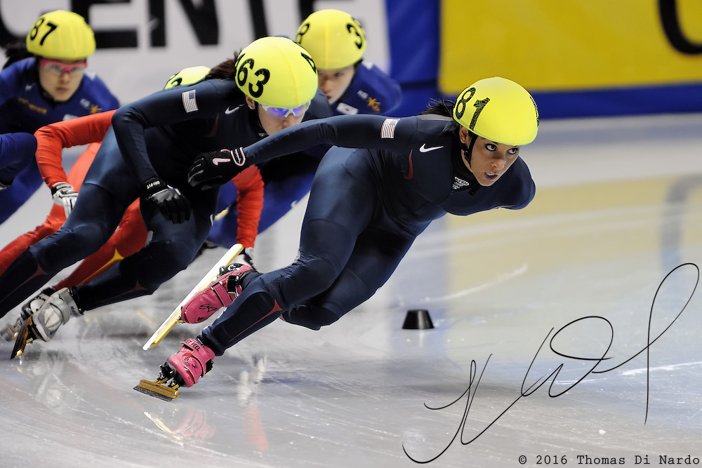 2008 World Cup Short Track - Vancouver - Allison Baver (USA) and Katherine Reutter (USA) compete during the 1500m Ladies A Final.