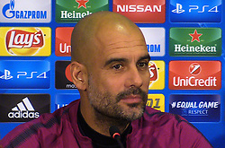 Manchester City manager Pep Guardiola during a press conference at the Metalist Stadium, Kharkiv.