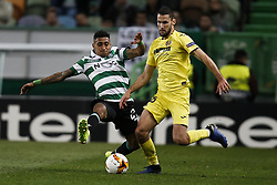 February 14, 2019 - Lisbon, Portugal - Raphinha of Sporting (L) vies for the ball with Alfonso Pedraza of Vilarreal (R)  during UEFA Europa League football match between Sporting CP vs Villarreal CF, in Lisbon, on February 14, 2018. (Credit Image: © Carlos Palma/NurPhoto via ZUMA Press)
